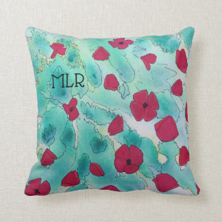 Red Poppies Watercolor And Monogram Throw Pillow
