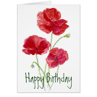 Red Poppies - Watercolor Card