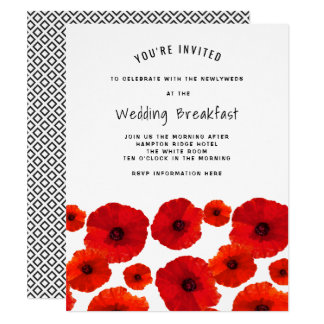 red_poppies_wedding_breakfast_invitation r762ad3e384334379a7f258338ae27cd3_6gdct_324?rlvnet=1 wedding breakfast invitations & announcements zazzle canada,Wedding Breakfast Invitations