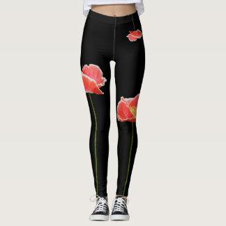 Red Poppies Yoga Leggings