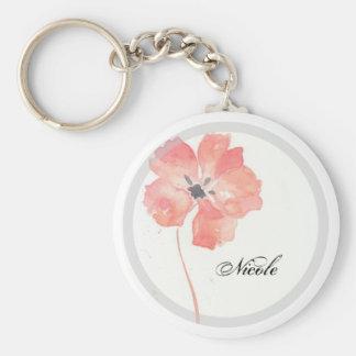 Red Poppy Add Name Keychain