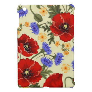 red poppy and blue flowers iPad mini case