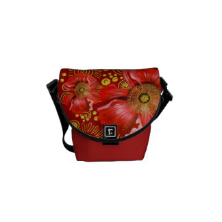 Red Poppy and Gold Spirals Commuter Bags