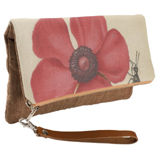 Red Poppy And The Bug Clutch