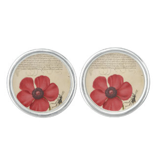 Red Poppy And The Bug Cufflinks