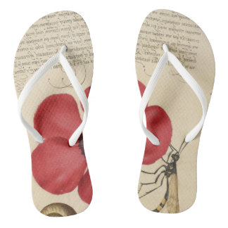 Red Poppy And The Bug Flip Flops