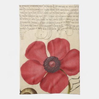 Red Poppy And The Bug Kitchen Towel