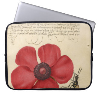 Red Poppy And The Bug Laptop Sleeve