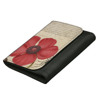 Red Poppy And The Bug Leather Wallet For Women