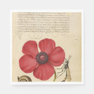 Red Poppy And The Bug Paper Napkin