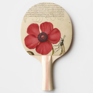 Red Poppy And The Bug Ping Pong Paddle