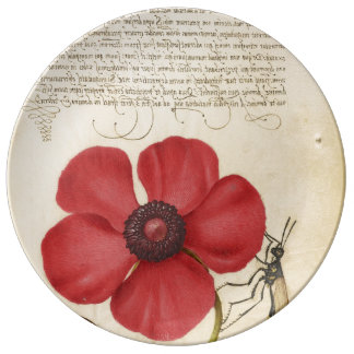 Red Poppy And The Bug Plate