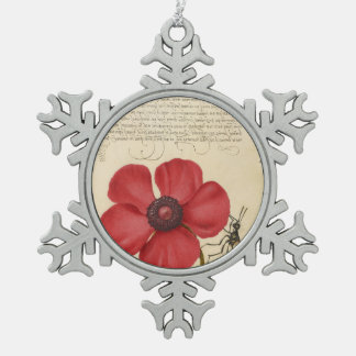 Red Poppy And The Bug Snowflake Pewter Christmas Ornament