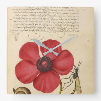 Red Poppy And The Bug Square Wall Clock