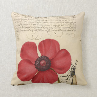 Red Poppy And The Bug Throw Pillow