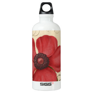 Red Poppy And The Bug Water Bottle