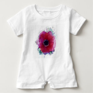 Red Poppy Baby Girl Cute Romper #1