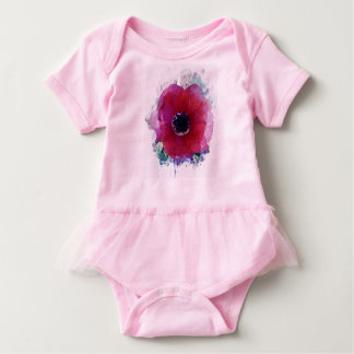 Red Poppy Baby Tutu Cutest Bodysuit #1