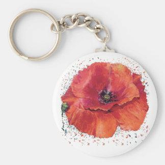 red poppy basic round button keychain