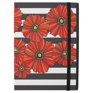 "Red poppy black stripe iPad Pro 12.9"" cover"