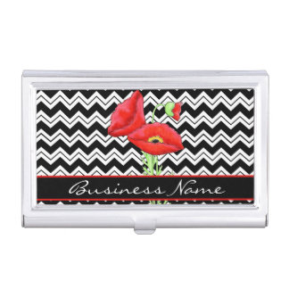 Red Poppy Black White Chevron Zizzag Custom Business Card Cases