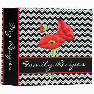 Red Poppy Black & White Chevron Zizzag Customized Binder