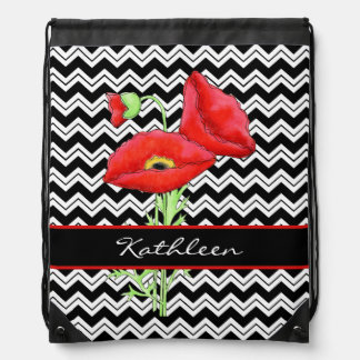 Red Poppy Black White Zizzag Chevron Custom Name Drawstring Bag