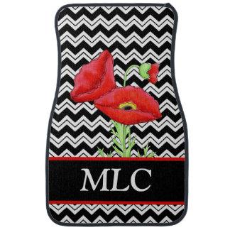 Red Poppy Black White Zizzag Chevron Monogram Auto Mat