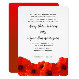 Red Poppy Border Parents Names Wedding Invitation