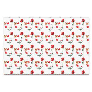 Red Poppy, Butterfly floral pattern Tissue Paper