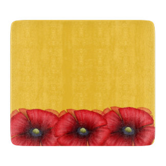 Red Poppy cluster on yellow Glass Chopping Board