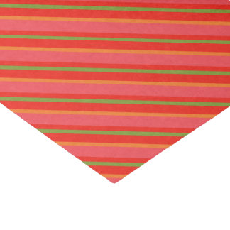 Red Poppy Colours Pink Orange Green Snazzy Stripes Tissue Paper