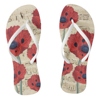 red poppy dream flip flops