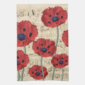 red poppy dream kitchen towel