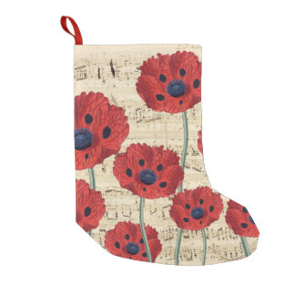 red poppy dream small christmas stocking