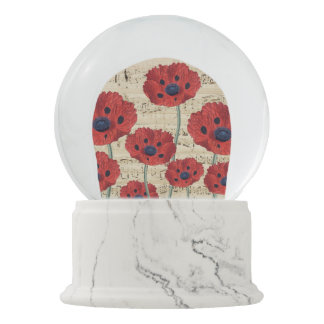 red poppy dream snow globe