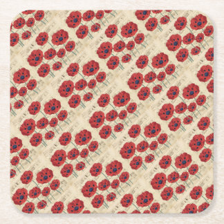 red poppy dream square paper coaster