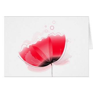 Red poppy elegant paper Greeting Card