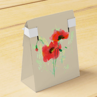 Red poppy favor box