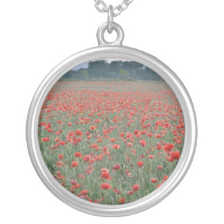 Red Poppy field, Kent, England flowers Silver Plated Necklace