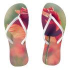 Red poppy flip flops