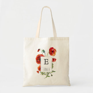 Red Poppy Floral Monogram Personalized Tote Bag