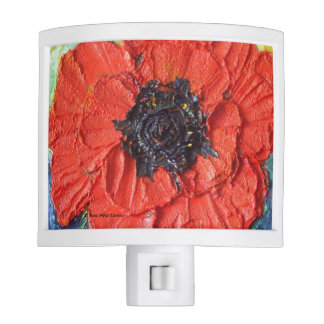 Red Poppy Floral Night Light