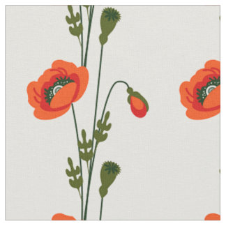 Red poppy floral pattern fabric