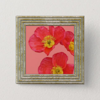 Red Poppy Flower 2 Inch Square Button