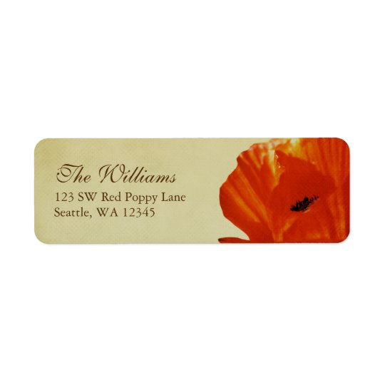 Red Poppy Flower Blossom Custom Address Label
