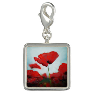 Red Poppy Flower Charm for Bracelet