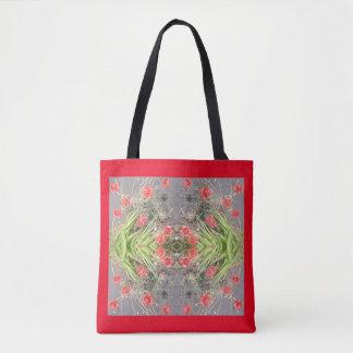 Red Poppy Flower Fractal Tote Bag