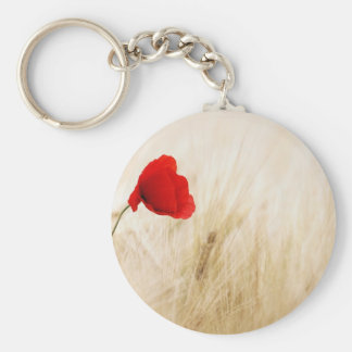 Red Poppy Flower in Field of Ripe Cereals Basic Round Button Keychain