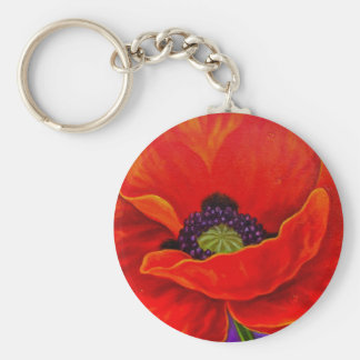 Red Poppy Flower Painting - Multi Basic Round Button Keychain
